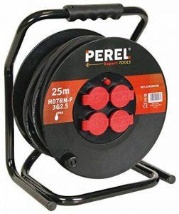 Perel 51013 Rallonge électrique sur enrouleur professionnel 4 prises avec disjoncteur de sécurité 25 m Noir de la marque Perel image 0 produit