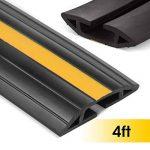 Protecteur de cordon de sol, cache-câble Stageek 1.2M pour plancher Cordon de protection de câble flexible en PVC pour conduits de dérivation, empêche le risque de trébucher à la maison, au bureau ou à l'entrepôt, noir et jaune de la marque Stageek image 1 produit