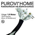 Purovi® Home | Tuyau de câble universel avec fermeture auto-agrippantes | 1,8 m de longueur et diamètre extensible jusqu'à max. 2.5cm | Veste de câble conduit en PE de la marque Purovi image 1 produit