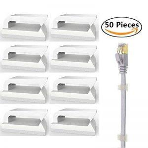 Serre Câble Adhésif Fixation Cable (50 pièces) Pinces de Câble Ethernet, Attache Cable pour La maison et Le Bureau de la marque Eiito image 0 produit