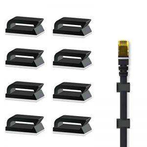 Serre Câble Adhésif Fixation Cable (Noir 100 pièces) Pinces de Câble Ethernet, Attache Cable pour La maison et Le Bureau de la marque Eiito image 0 produit