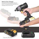 Visseuse à Chocs, TECCPO Professional 180Nm Clé à Chocs sans Fil 18V, 2 Batteries 2.0Ah, 30min Charge Rapide, 6.35mm Mandrin, Lampe LED Intégrée, Sac à Outils, pour Fixation et Desserrage des Vis - TDID01P de la marque TECCPO image 4 produit