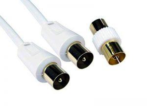 World of Data 15m câble coaxial - Haute Qualité - plaqué or 24 ct Plugs - Entièrement moulée - blindé (Protège de RFI et EMI) - mâle à mâle (MM) avec adaptateur - Antenne - TV - câble d'antenne - Blanc de la marque World of Data image 0 produit