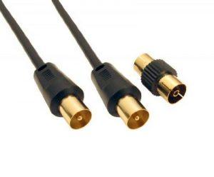 World of Data 5m câble coaxial - Haute Qualité - plaqué or 24 ct Plugs - Entièrement moulée - blindé (Protège de RFI et EMI) - mâle à femelle (MF) avec adaptateur - Antenne - TV - câble d'antenne - Noir de la marque World of Data image 0 produit