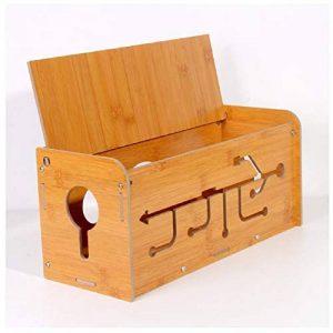 Yosposs câble Boîte de rangement Kz5327-w976en bois Boîte de rangement pour câble, Conteneur de stockage de bureau Box, Ligne unité de rangement de câbles, Concentrateurs USB, Gestion de câble extension Box, 35* 14* 15cm de la marque YOSPOSS image 0 produit